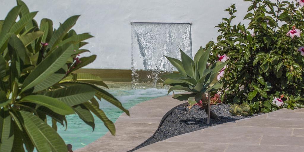 piscines avec lame d'air et jardinière fleurs et gravier