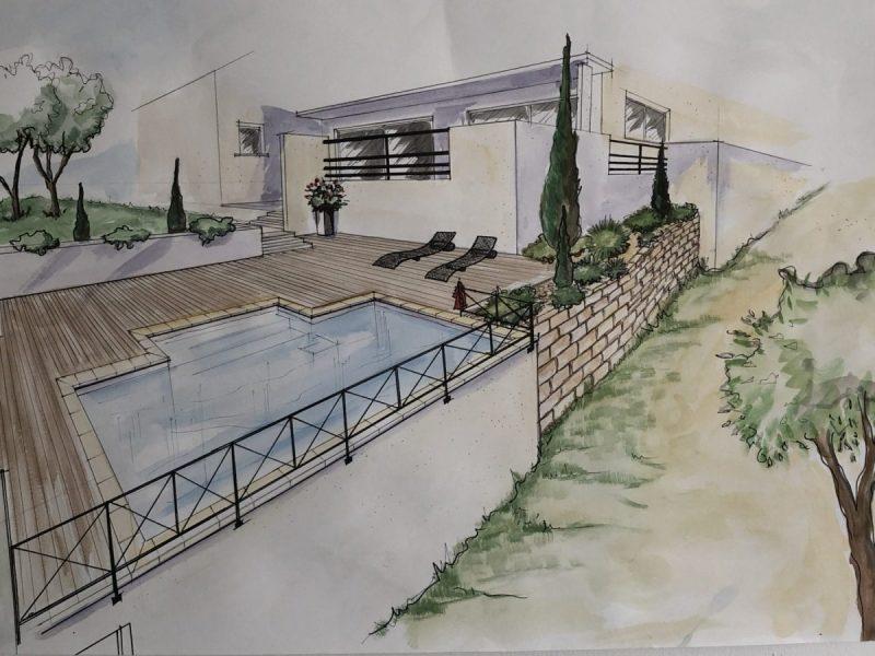 croquis piscine et terrasse moderne hdp-piscines
