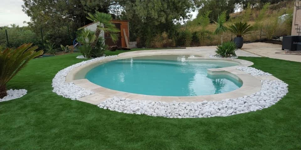 jardin avec piscine lagon plage imergee